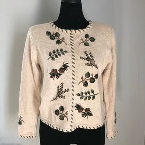 Hand Embroidered Boho Fall Sweater sz S